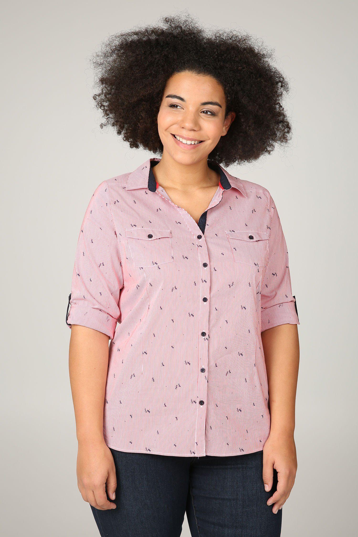 Paprika Druckbluse Bluse mit Streifen- und Libellen-Print