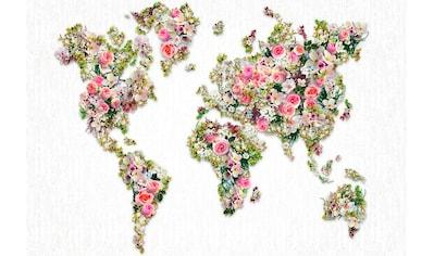 living walls Vliestapete »Weltkarte aus Rosen Vlies«, mit Grafik Muster kaufen
