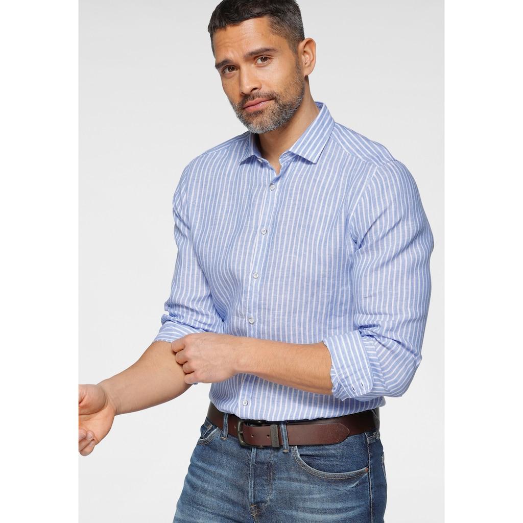 OLYMP Langarmhemd »Level Five body fit«, in reiner Leinenqualität