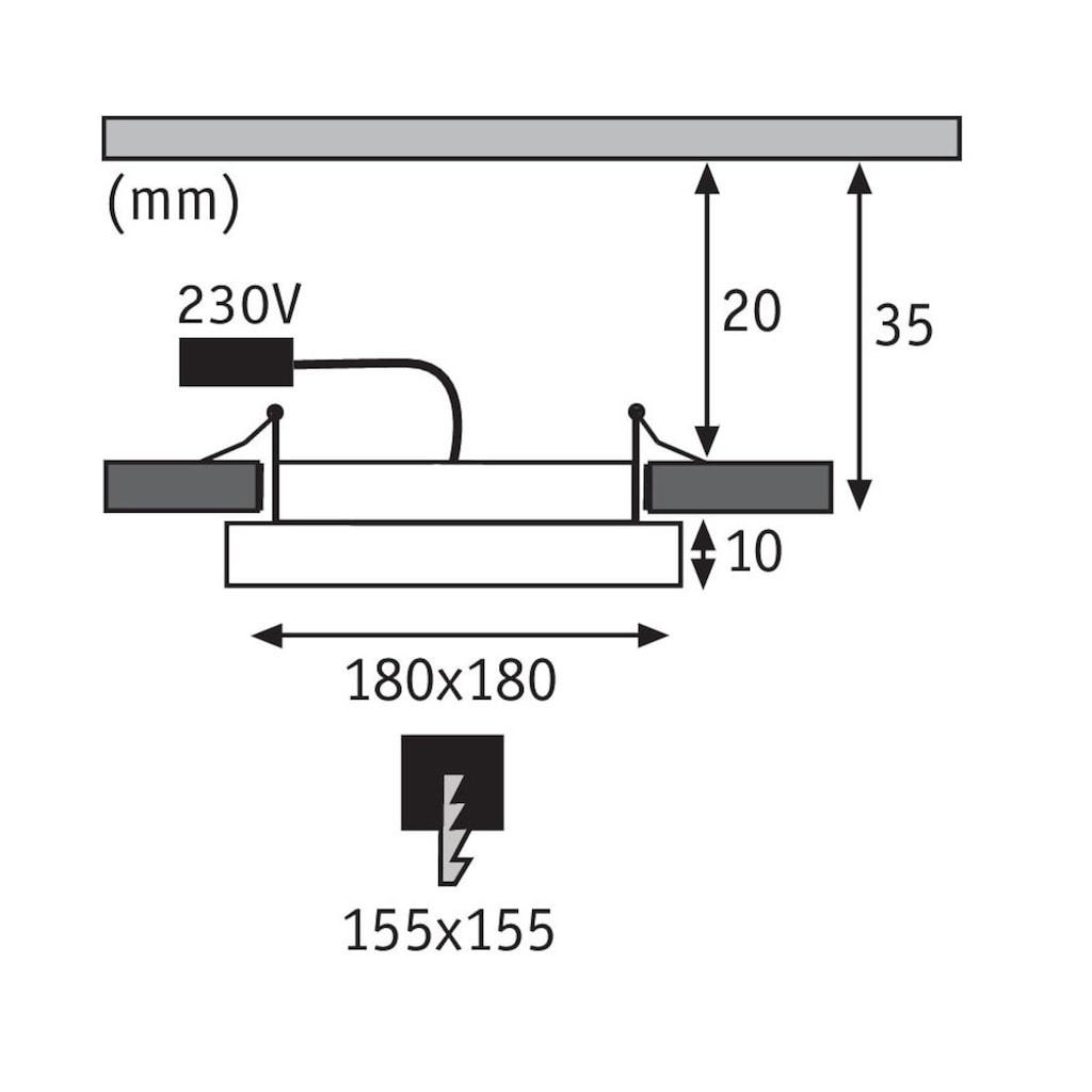 Paulmann LED Einbaustrahler »Panel Areo IP23 eckig 180x180mm 12W 3.000K Nickel matt IP23 Deckenmontage«, Warmweiß