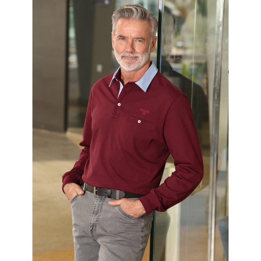 Roger Kent Poloshirt mit gestreiftem Webkragen