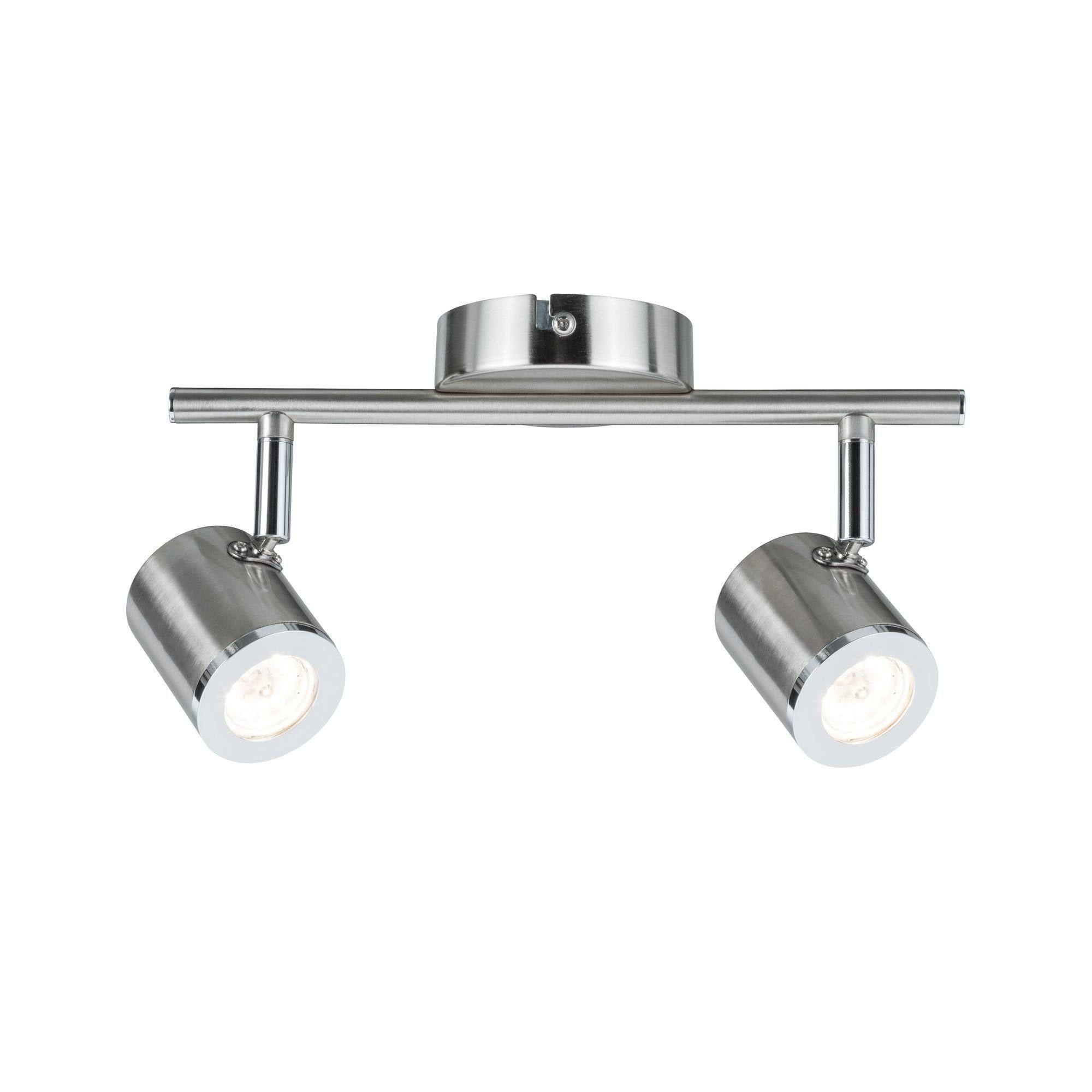 Paulmann LED Deckenleuchte 2er-Spot Nickel Silberfarben Tumbler 2x4,5W, 1 St., Warmweiß