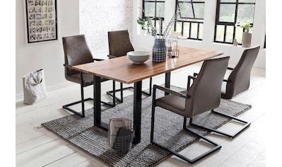 SalesFever Essgruppe, (Set, 5 tlg.), bestehend aus 4 modernen Freischwinger Stühlen und einem Baumkantentisch 180 cm kaufen