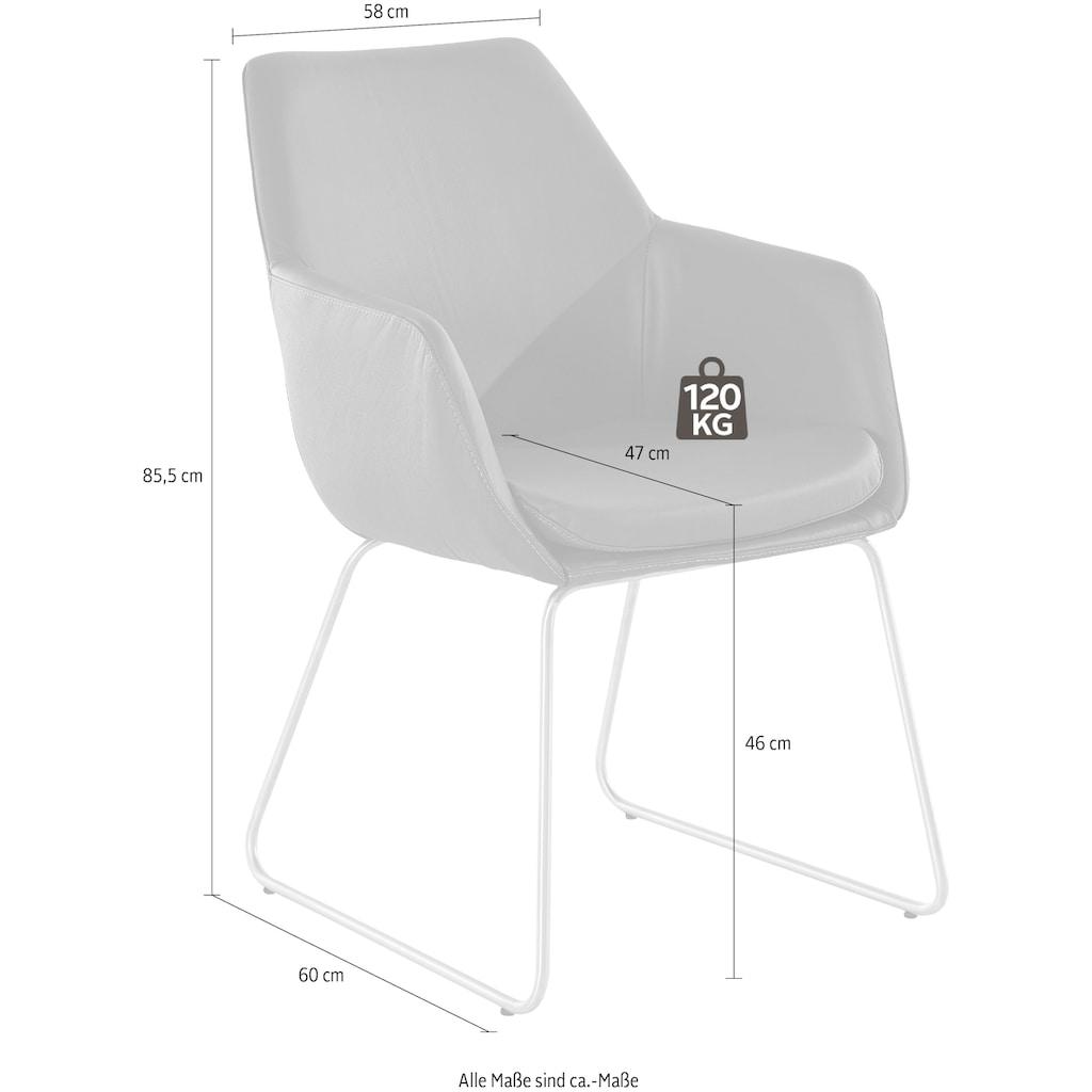 Armlehnstuhl »Helsinki«, Bezug in Webstoff in Kombination mit Kunstleder oder Leder und das Gestell aus Edelstahl