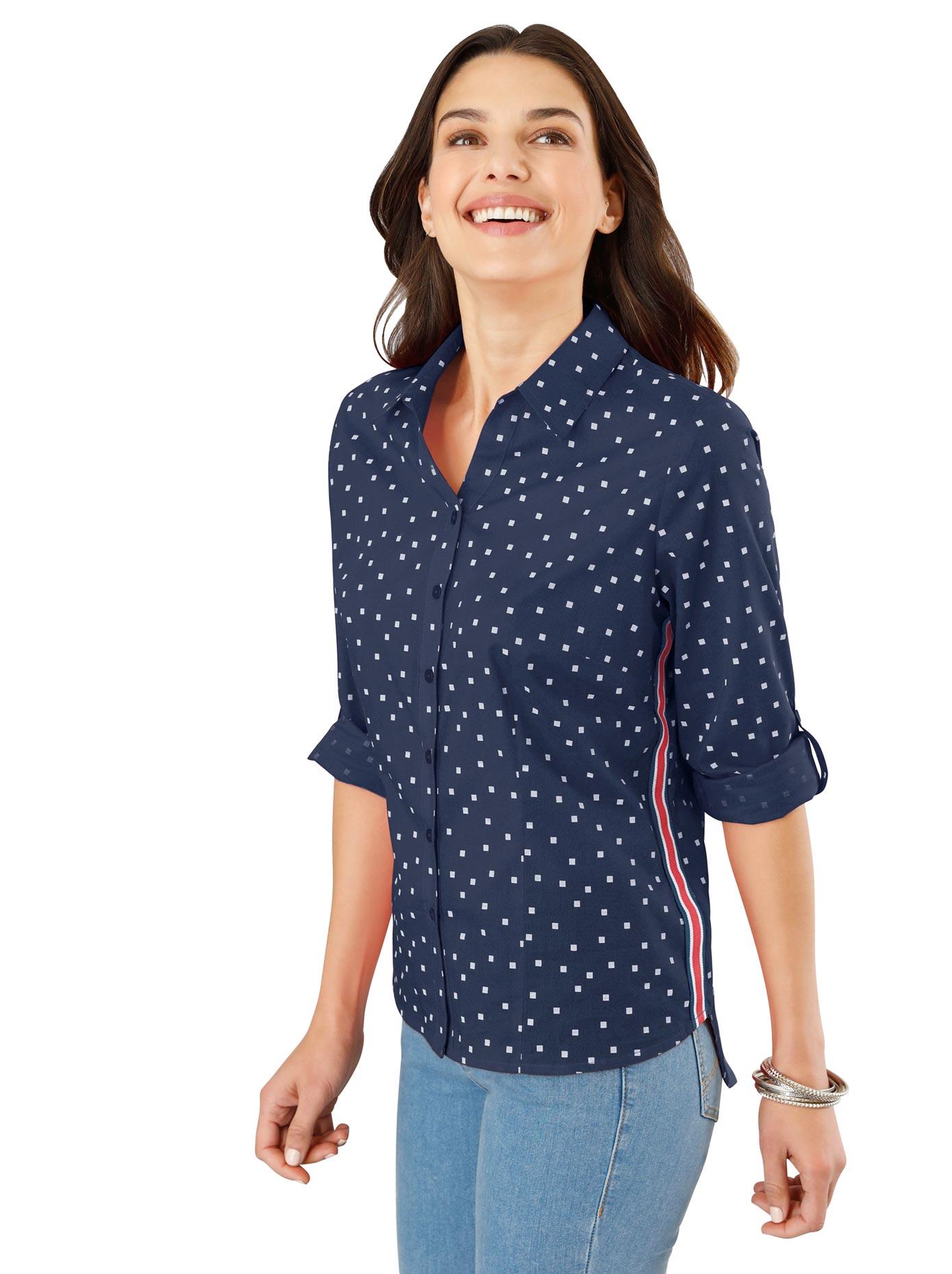 Classic Basics Bluse mit Galonstreifen an den Seiten