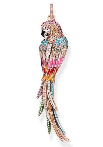 THOMAS SABO Kettenanhänger »Papagei rosé, PE802-384-7«, mit Emaille, synth. Korund,... kaufen