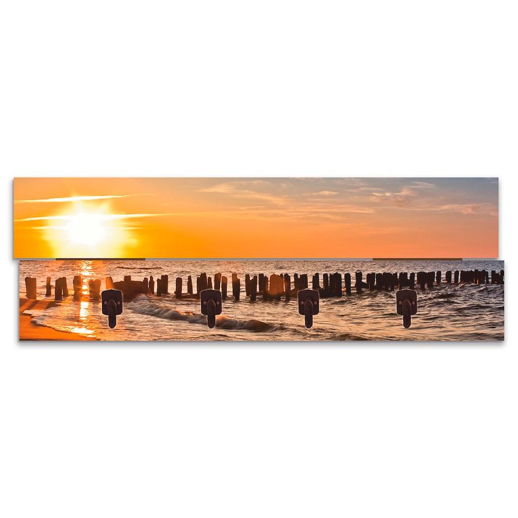 Artland Garderobenpaneel »Schöner Sonnenuntergang am Strand«, platzsparende Wandgarderobe aus Holz mit 4 Haken, geeignet für kleinen, schmalen Flur, Flurgarderobe