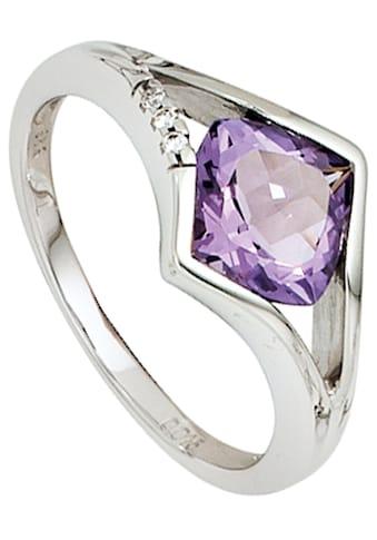 JOBO Diamantring, 585 Weißgold mit Amethyst und 3 Diamanten kaufen