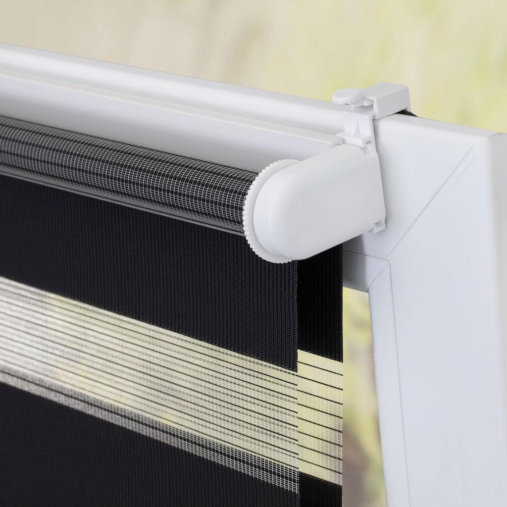 LICHTBLICK ORIGINAL Doppelrollo »Duo Rollo Klemmfix Mittelzug«, Lichtschutz, Perlreflex-beschichtet-energiesparend, ohne Bohren, freihängend, schnurlos Springrollo