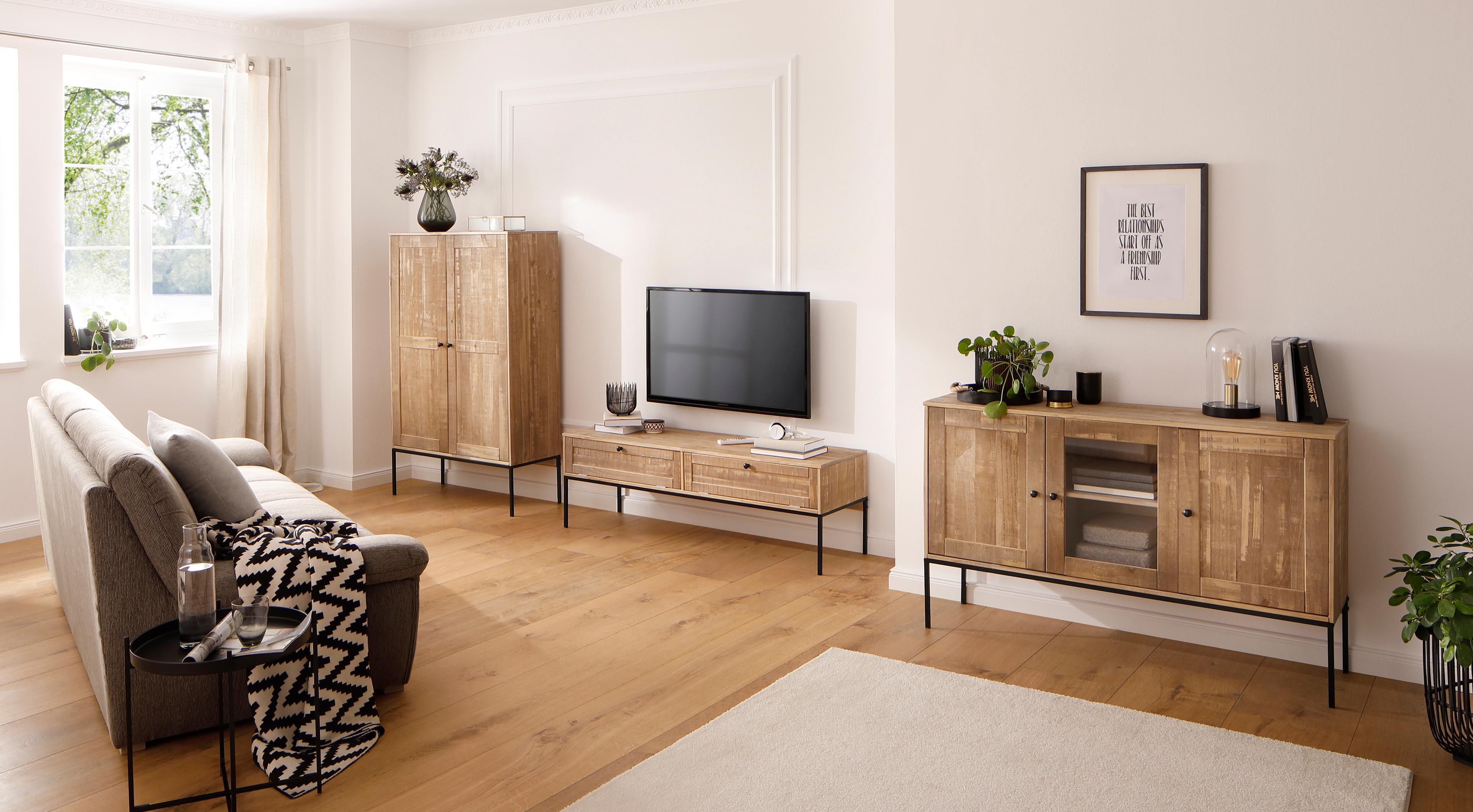 Gut Home Affaire Glasvitrine »Freya« Mit 2 Holztüren Und Quadratische  Röhrenbeine, In Zwei Verschiedenen Farben
