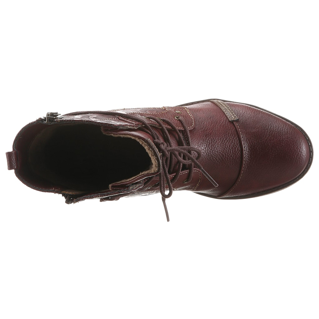 Mustang Shoes Schnürstiefelette, mit schaftumspielender Schnürung