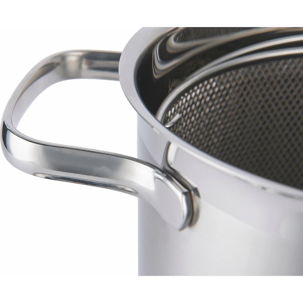 RÖSLE Spargeltopf »ELEGANCE«, Edelstahl 18/10, (1 tlg.), mit Glasdeckel und Siebeinsatz, 4,5 Liter, spülmaschinen- und induktionsgeeignet