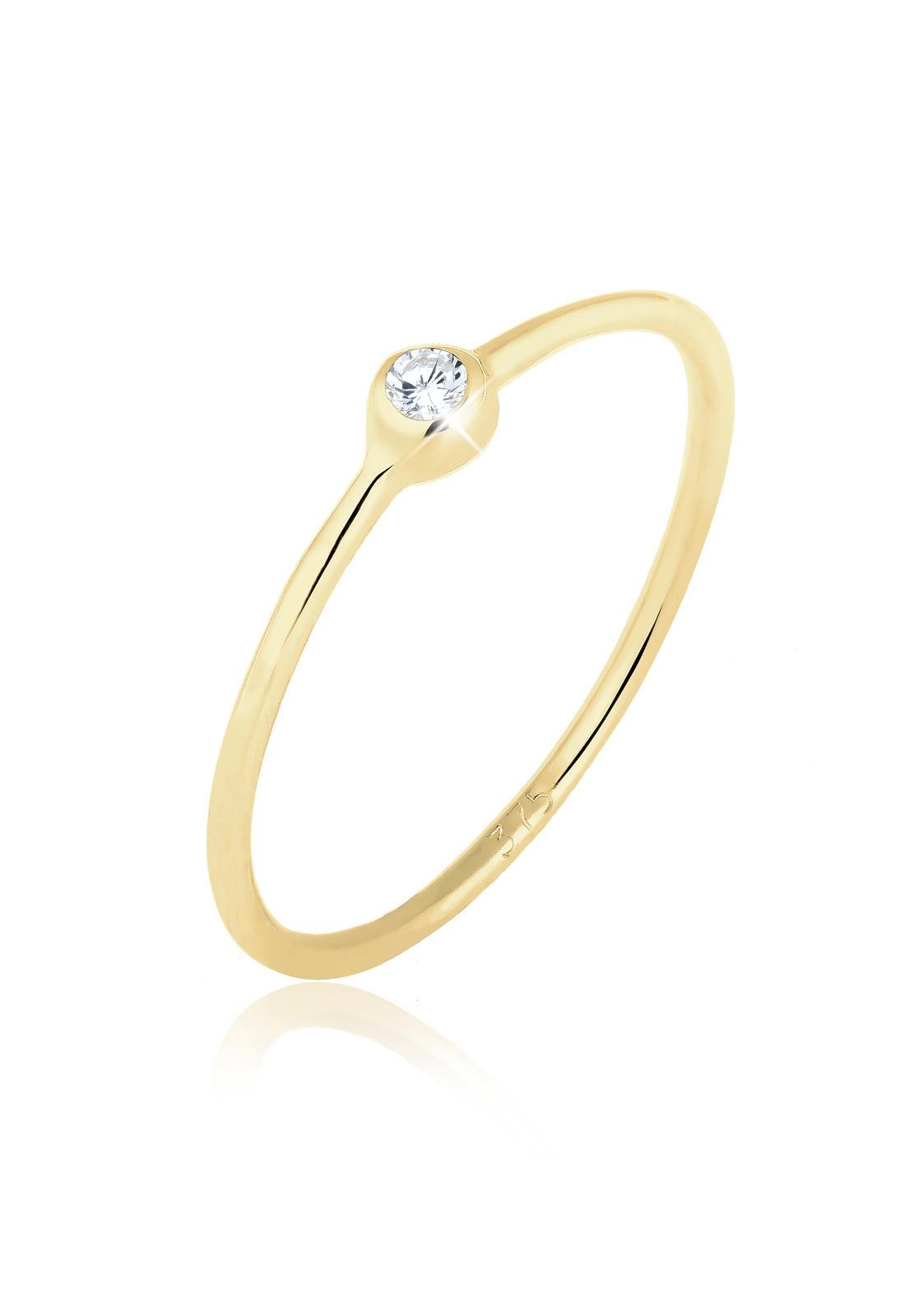 Elli Fingerring »375 Gelbgold Solitärring Zirkonia« | Schmuck > Ringe > Solitär Ringe | Weiß | ELLI