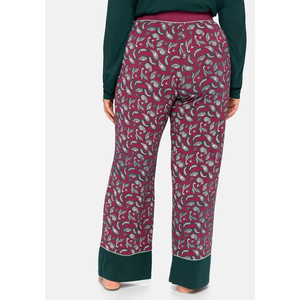 Sheego Pyjamahose, mit Paisleyprint und Kontrastsaum