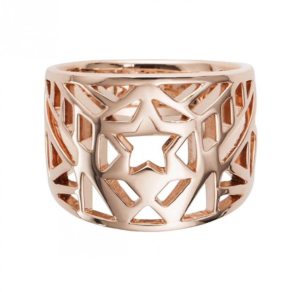 CAÏ Silberring »925/- Sterling Silber rotvergoldet Stern«