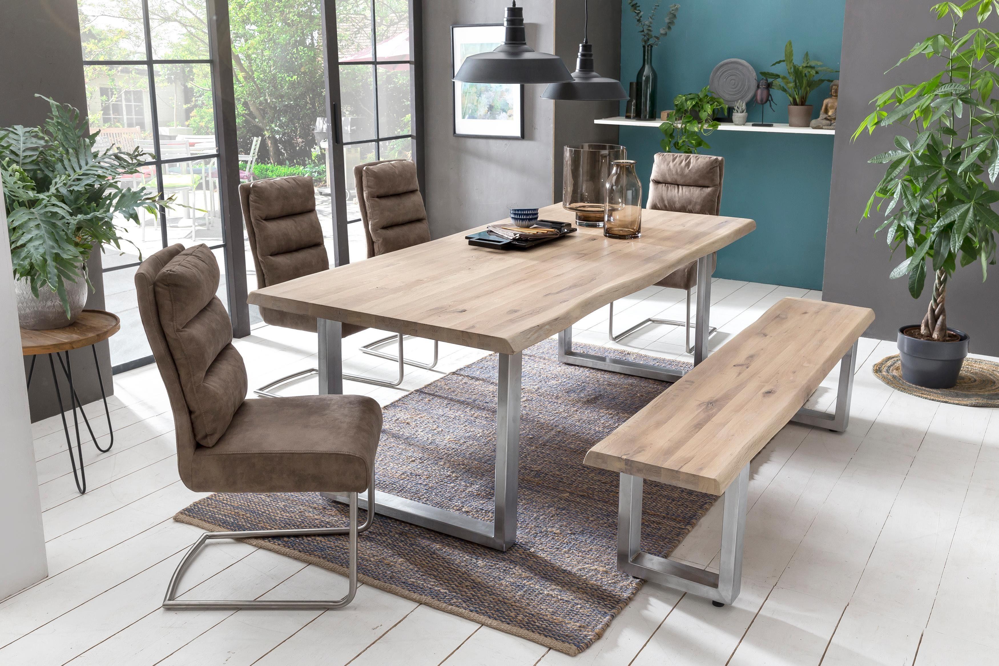 Home affaire Esstisch Tristan, mit Baumkante beige Holz-Esstische Holztische Tische