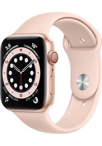 Apple Watch »Series 6 GPS + Cellular, Aluminiumgehäuse mit Sportarmband 44mm«, (Watch... kaufen