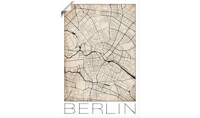 Artland Wandbild »Retro Karte Berlin Deutschland Grunge«, Deutschland, (1 St.), in vielen Größen & Produktarten - Alubild / Outdoorbild für den Außenbereich, Leinwandbild, Poster, Wandaufkleber / Wandtattoo auch für Badezimmer geeignet kaufen