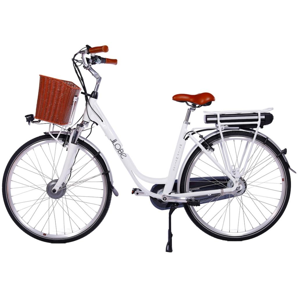 LLobe E-Bike »White Motion 2.0, 13,2Ah«, (mit Fahrradkorb)