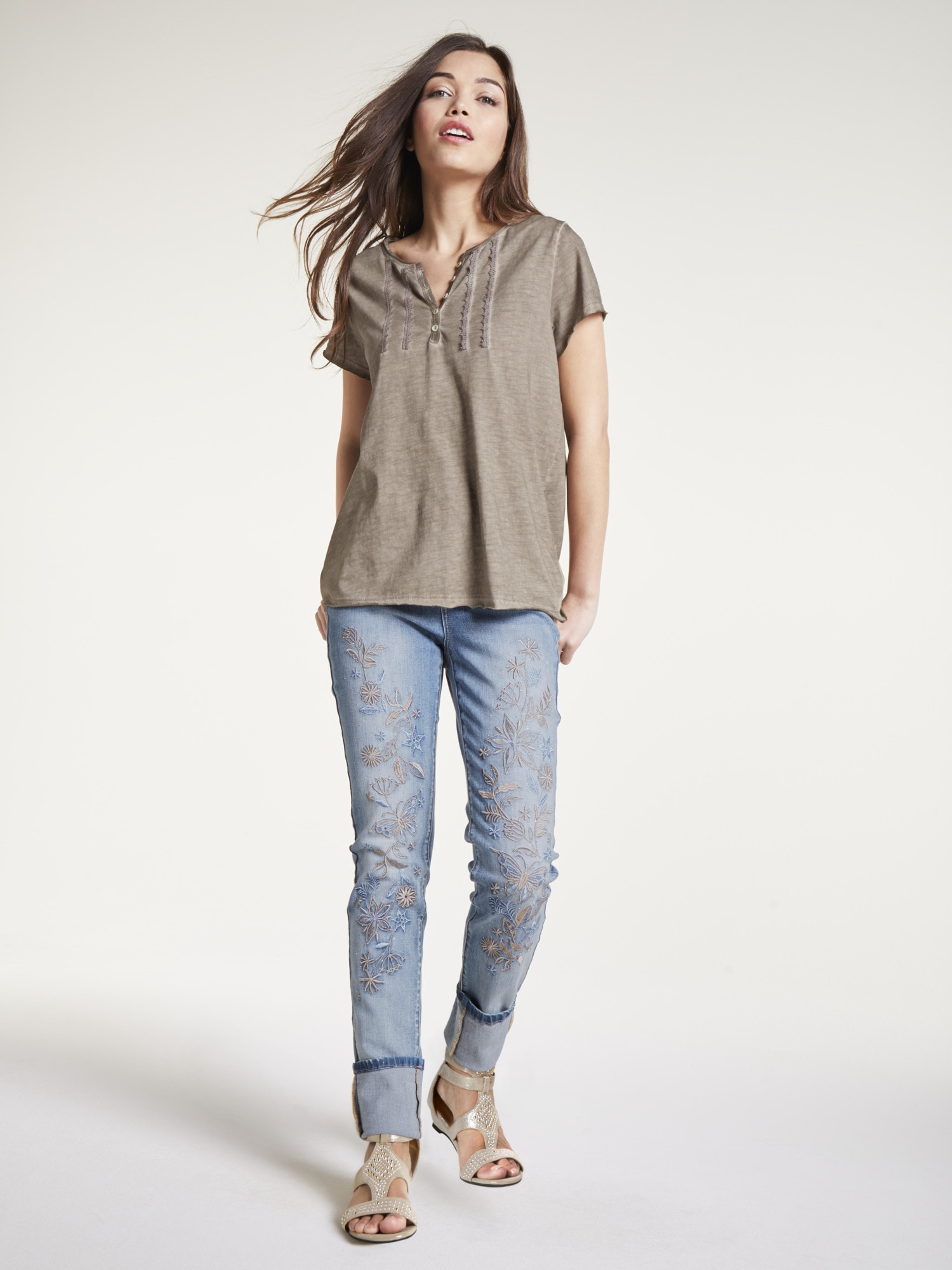 8cfa1686b0d228 heine CASUAL Bauchweg-Jeans mit Stickerei kaufen | BAUR