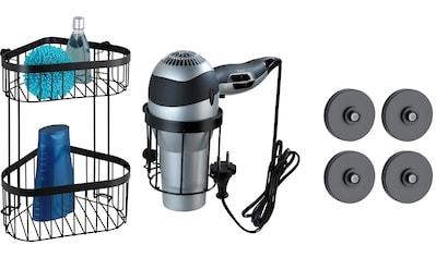 WENKO Badaccessoires-Sets »Classic Plus Black«, Eckregal und Haartrocknerhalter kaufen