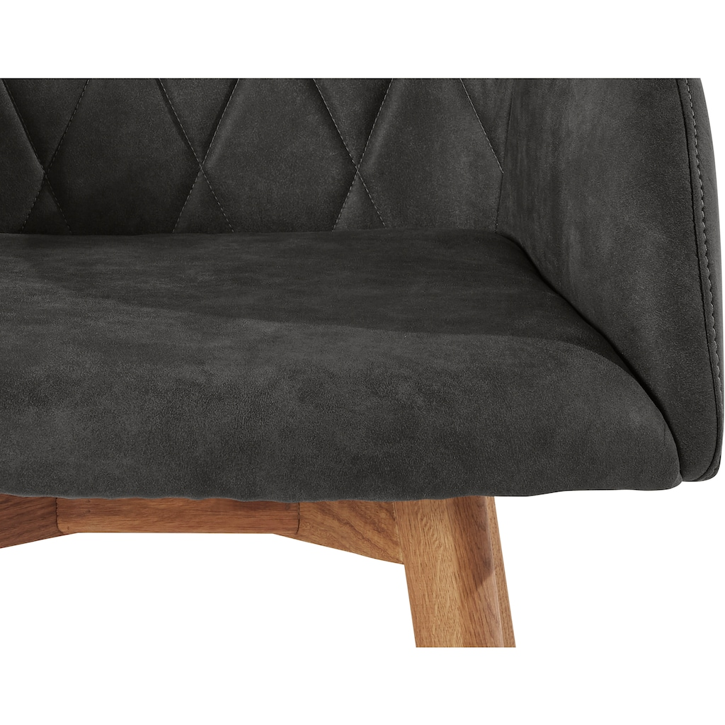 Armlehnstuhl »Brest«, Bezug in Leder oder Microfaser, Gestell ist Eiche Massivholz geölt