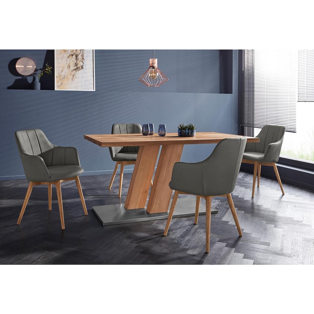 Armlehnstuhl »Atlanta«, Bezug aus strapazierfähiger Microfaser, Gestell aus Eiche Massivholz