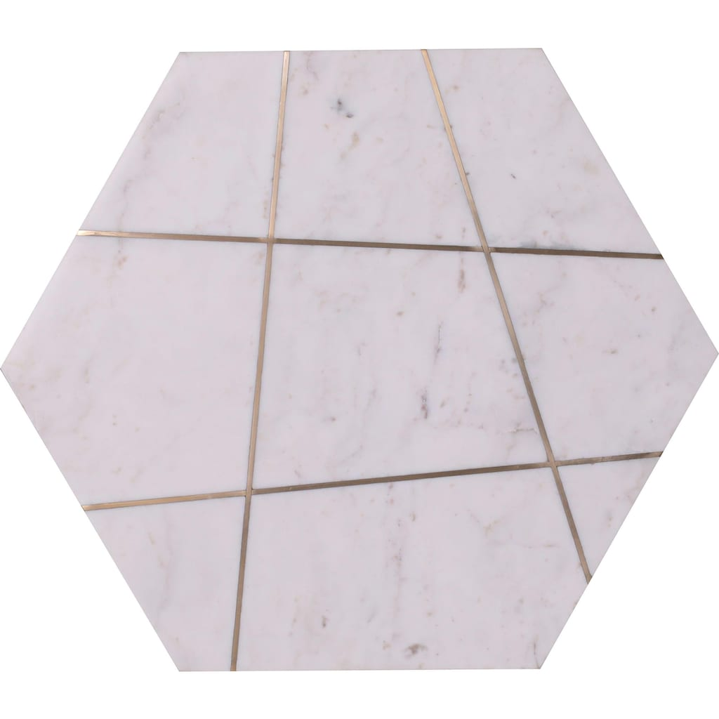 Leonique Beistelltisch »Menton«, mit Metall-Inlays in einer Marmorplatte