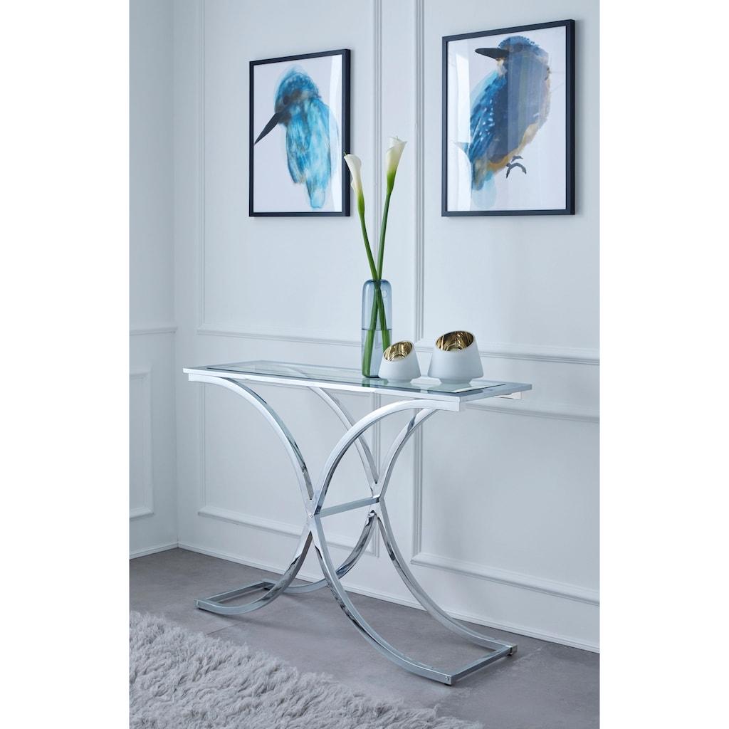 Guido Maria Kretschmer Home&Living Beistelltisch »Ballum«, mit modernem Chromgestell und einer Glasplatte, Breite 100 cm