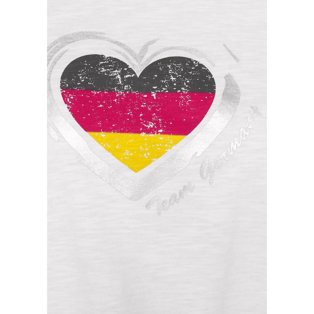 STOOKER WOMEN Rundhalsshirt, mit Tricolor-Herz-Print, Fanshirt EM 2021