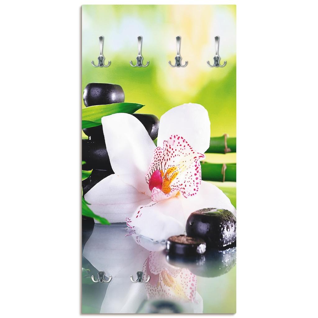 Artland Garderobe »Spa Steine Bambus Zweige Orchidee«, platzsparende Wandgarderobe aus Holz mit 6 Haken, geeignet für kleinen, schmalen Flur, Flurgarderobe