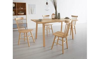 OTTO products Esstisch »Lennard«, aus massiver geölter Wildeiche, mit veganem und zertifizierten Bio-Öl behandelt, rechteckige Tischplatte, mit einer Baumkante und eckigen Holzbeinen kaufen