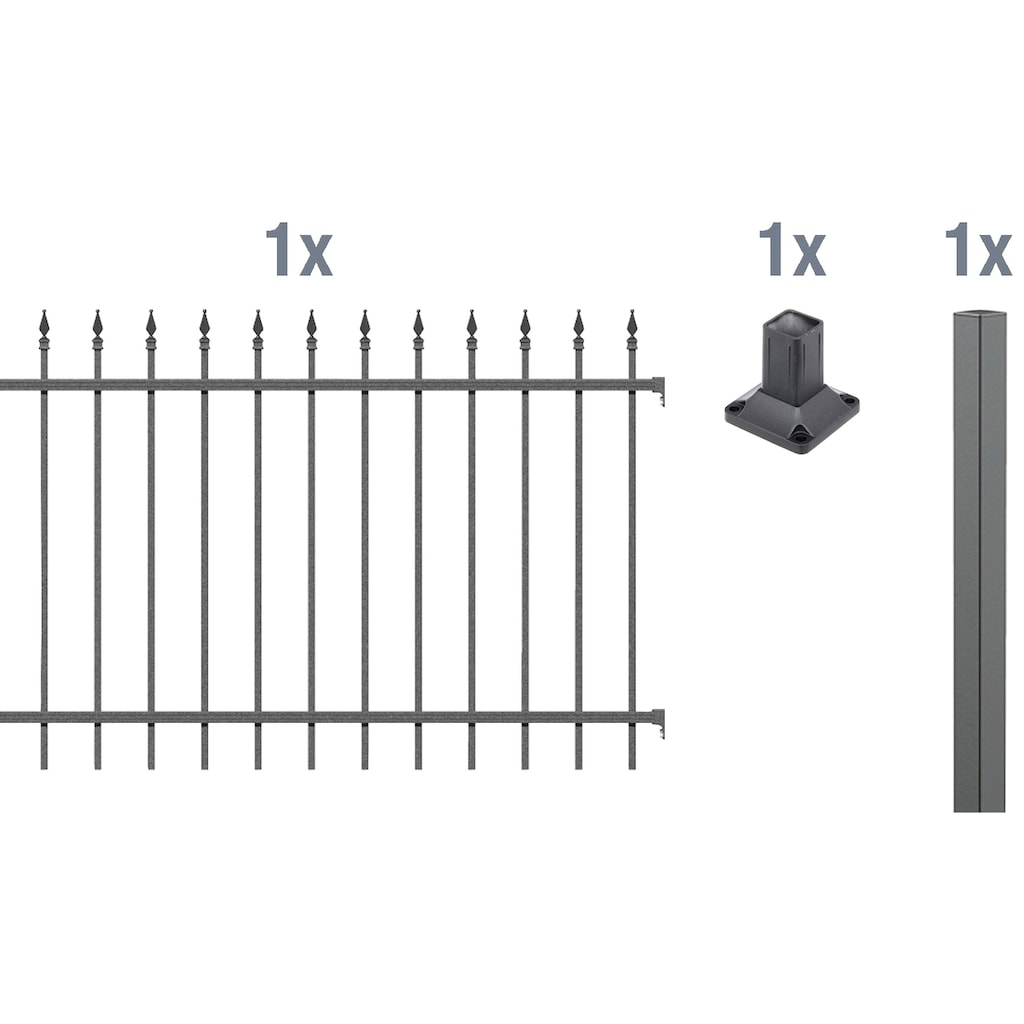 GAH Alberts Metallzaun »Chaussee«, Anbauset 100x200 cm, 1 Pfosten zum Aufschrauben