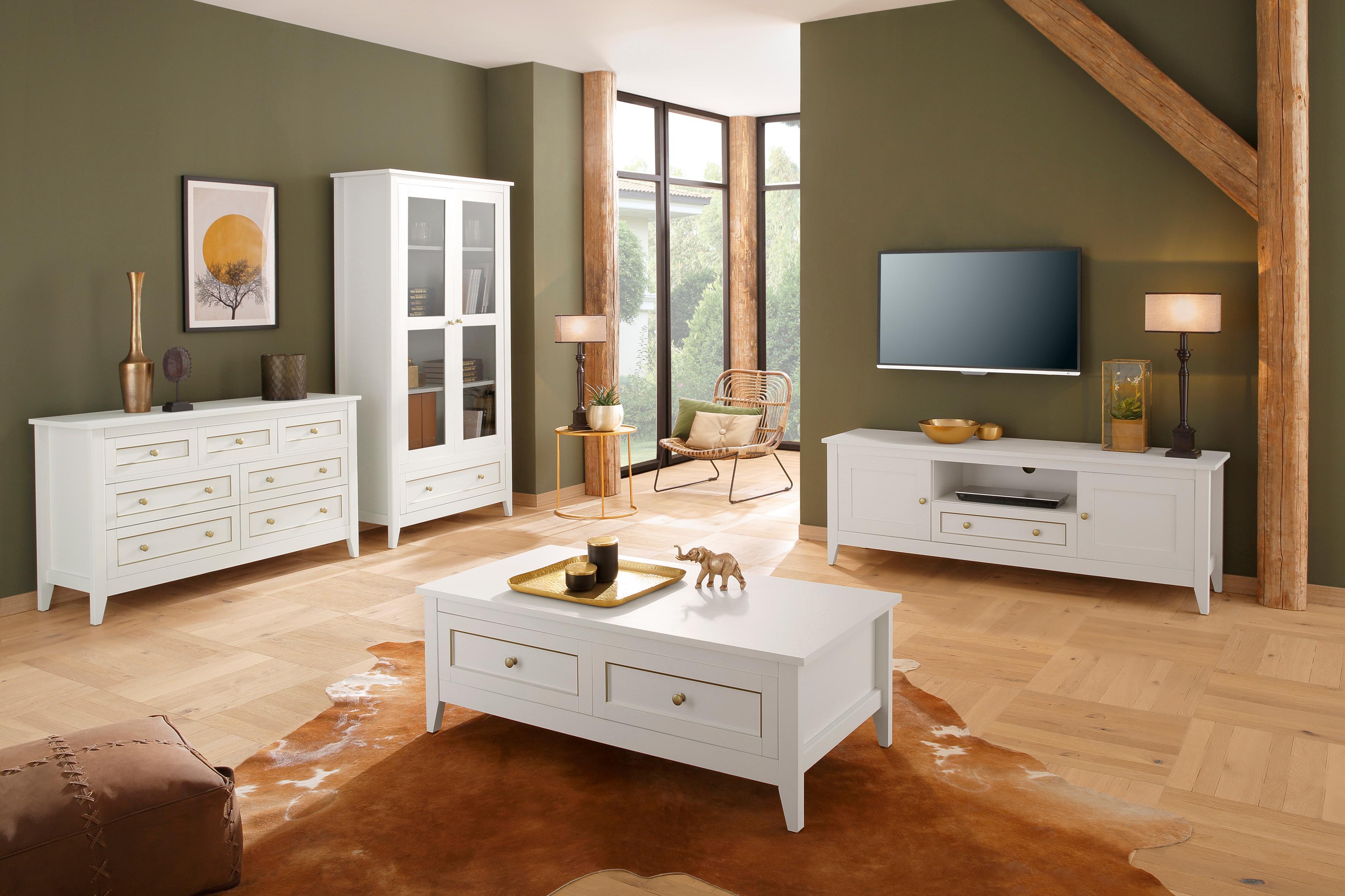 Home affaire Kommode Victoria 3 kleine und 4 große Schubladen mit schöner goldener Umrandung Breite 131 cm