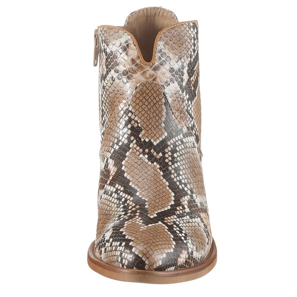 s.Oliver Cowboy Stiefelette, in angesagter Schlangenoptik