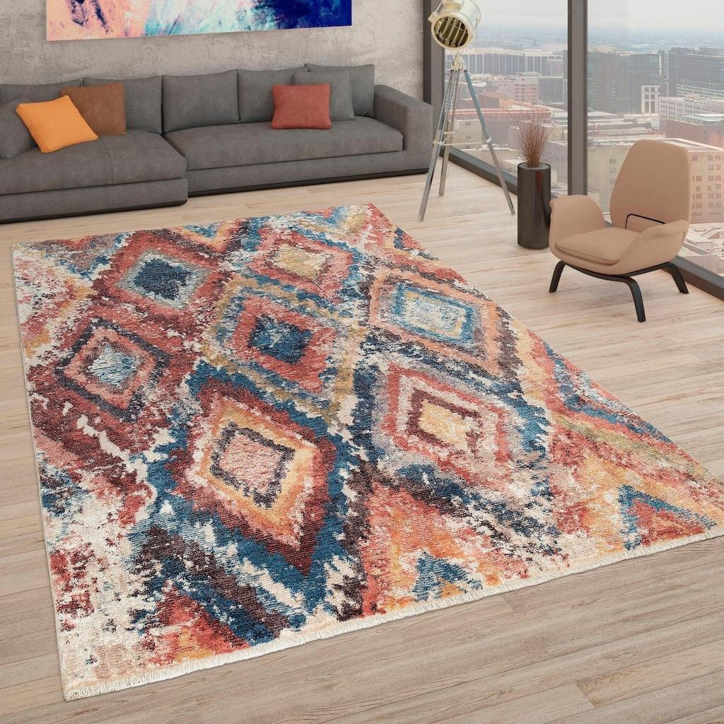 Paco Home Teppich »Eternal 432«, rechteckig, 15 mm Höhe, Kurzflor mit Used-Look und Ethno-Muster, Wohnzimmer