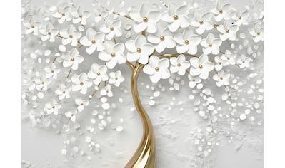 Consalnet Papiertapete »Goldener Baum mit Blütten«, botanisch kaufen
