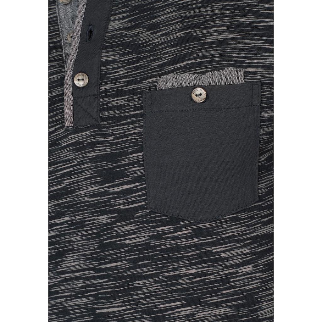 Arizona Langarmshirt, in melierter Optik und aufwendigen Details