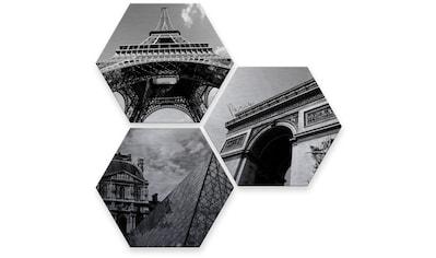 Wall-Art Mehrteilige Bilder »Silbereffekt Impression of Paris«, (Set, 3 St.) kaufen