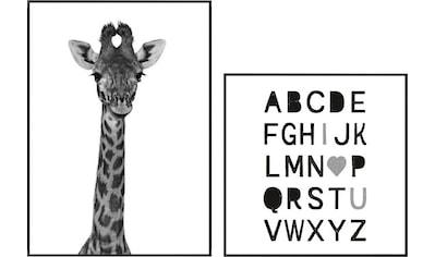 Reinders! Wandbild »Alphabet und eine Giraffe Schwarz-Weiß - Wandbilder Set«, (Set) kaufen