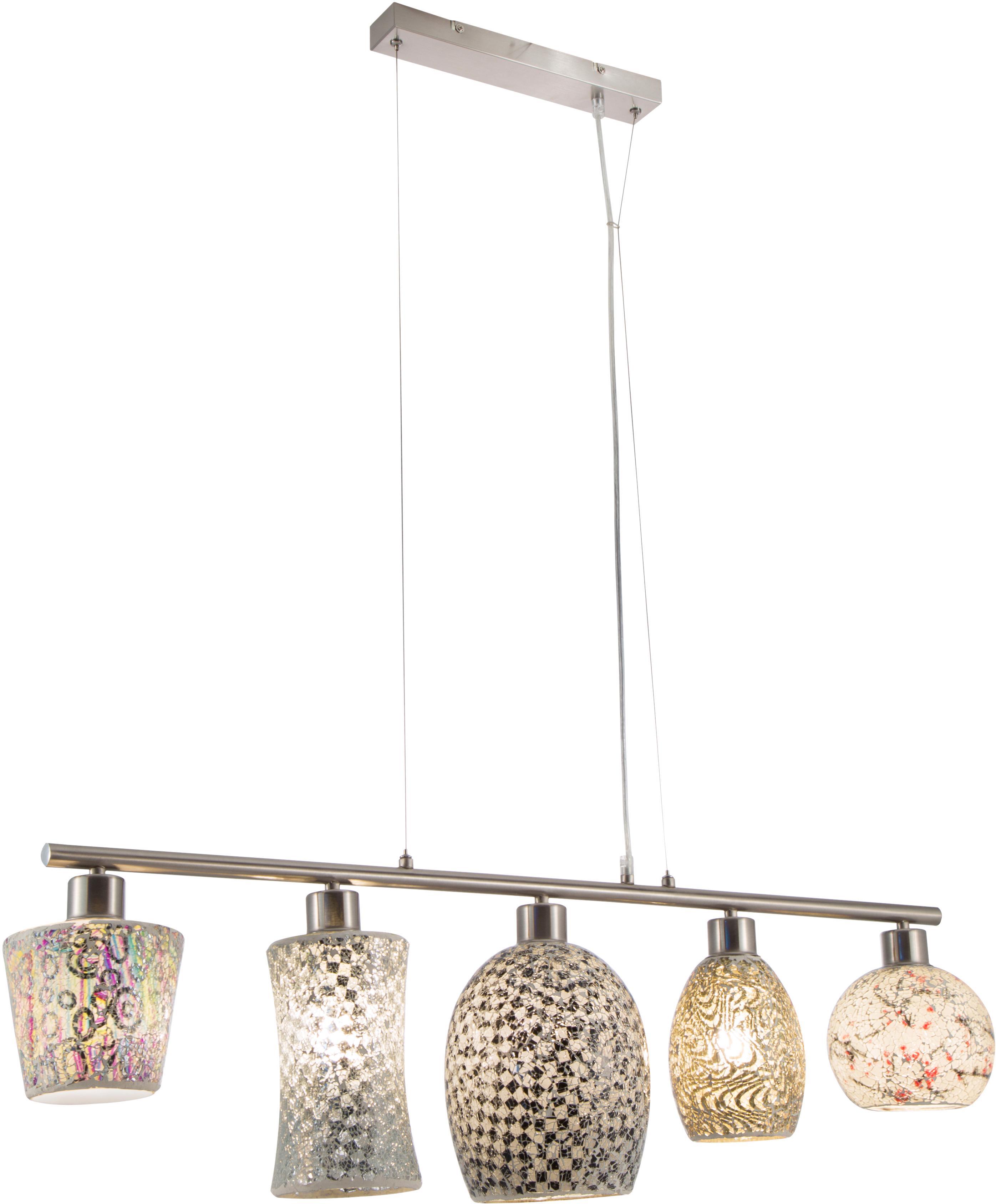 Nino Leuchten Pendelleuchte AREZZO, Hängeleuchte, fünf verschiedene Glasschirme in Mosaikoptik