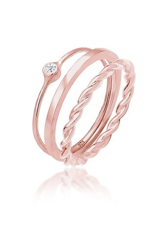 Elli Solitärring »Ring - Set mit Swarovski® Kristalle 925 Silber« kaufen
