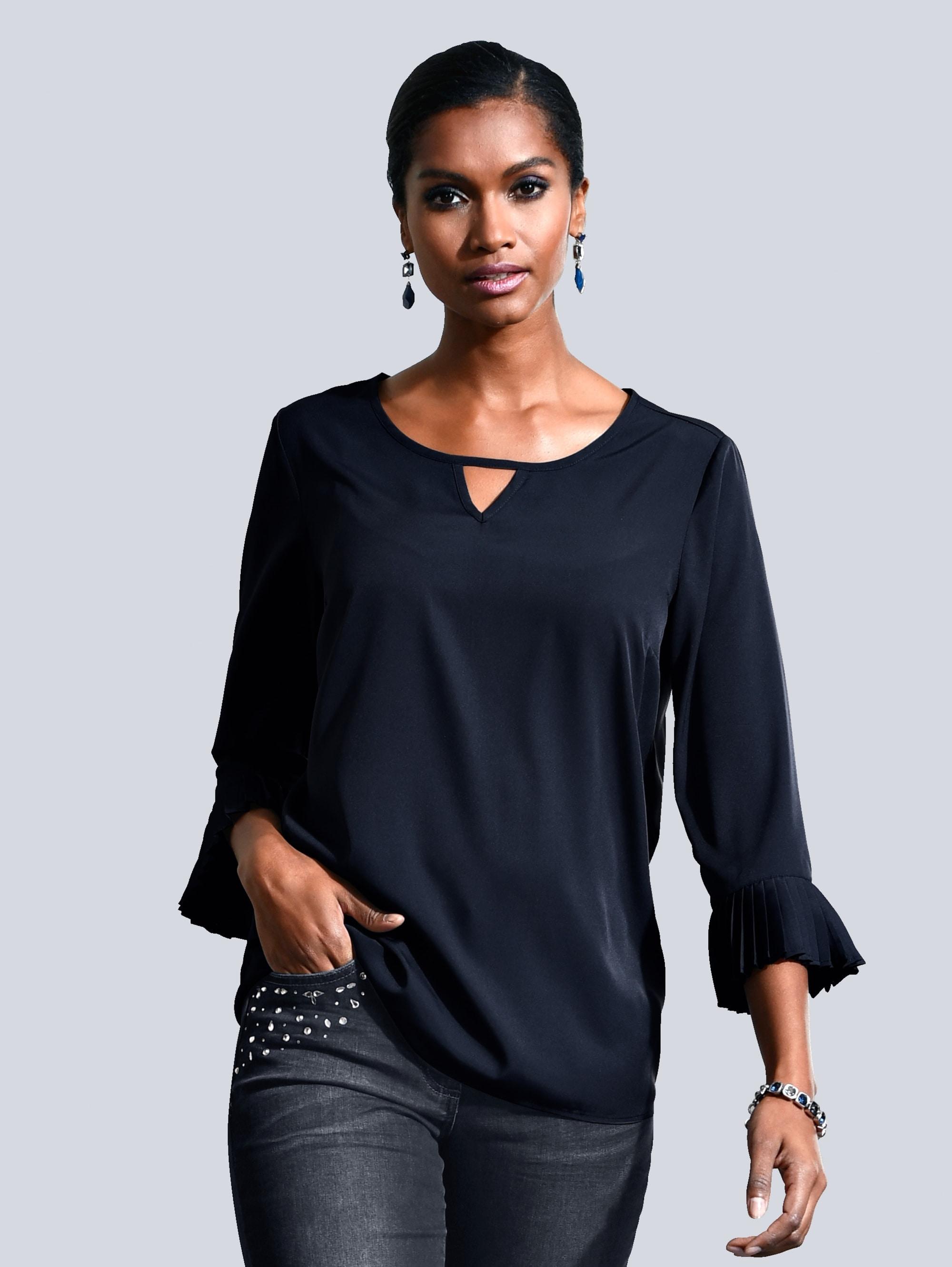 Alba Moda Bluse mit plissierten Armabschlüssen