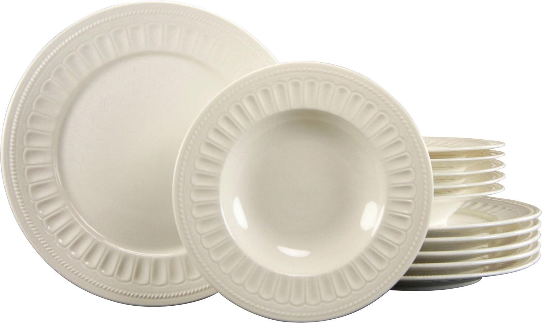 CreaTable Tafelservice Toledo, (Set, 12 tlg.), mit klassischem Relief weiß Geschirr-Sets Geschirr, Porzellan Tischaccessoires Haushaltswaren