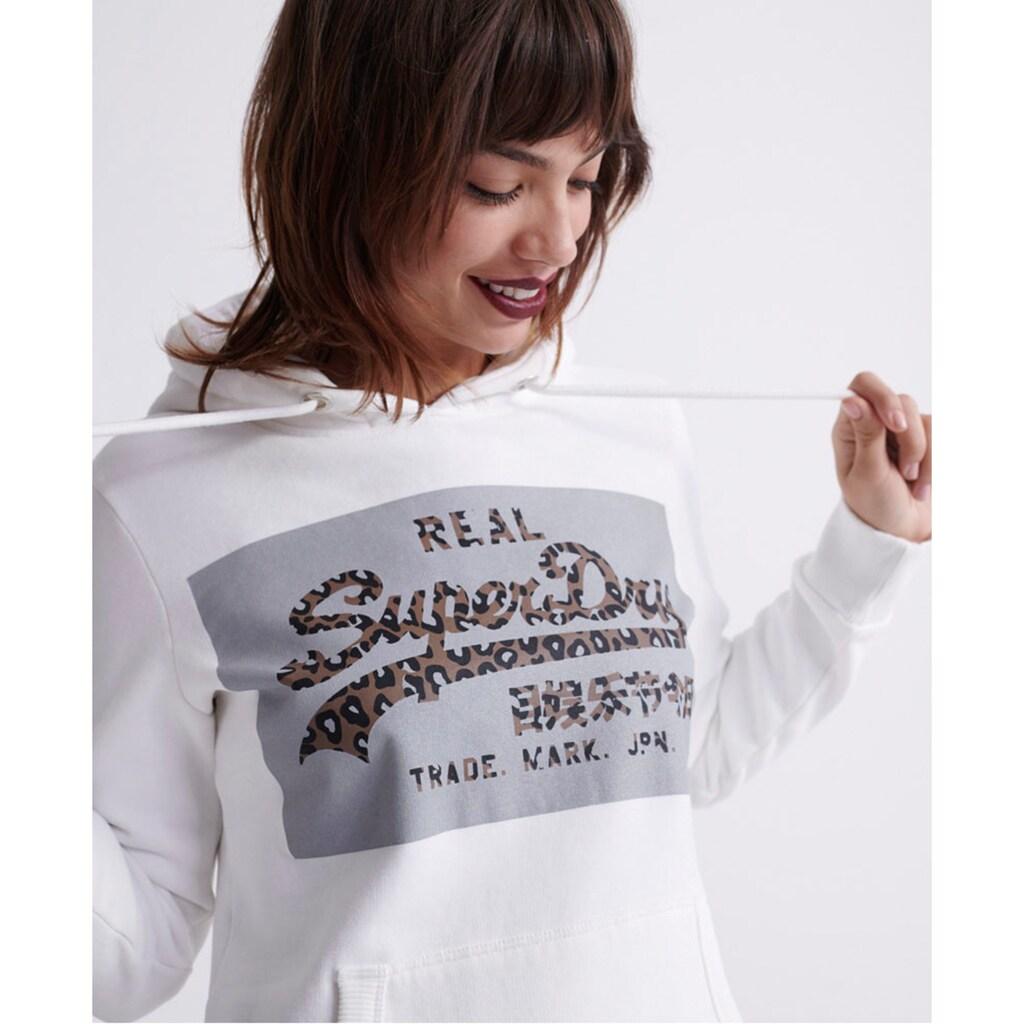 Superdry Kapuzensweatshirt »VL REFLECTIVE BOX EMTRY HOOD«, mit Logo im Animalprint