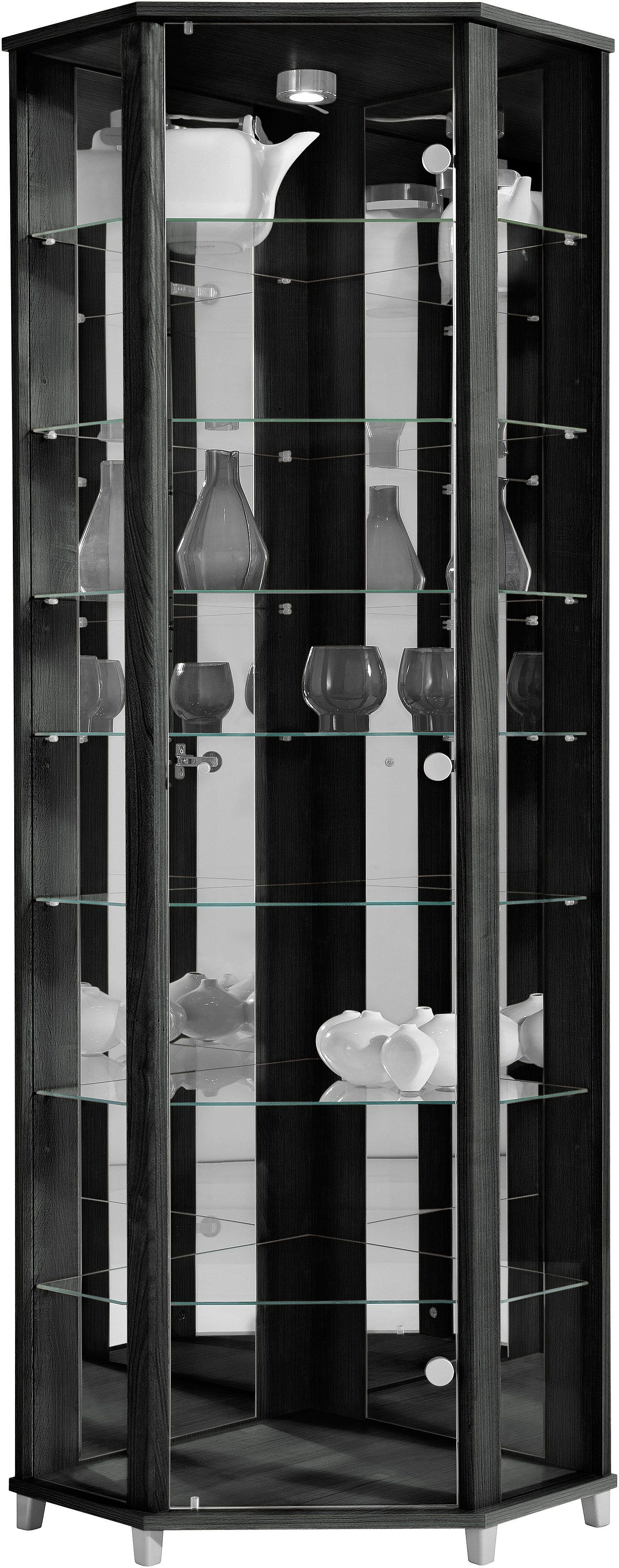 Eckvitrine Höhe 172 cm 7 Glasböden   Wohnzimmer > Vitrinen > Eckvitrinen   Schwarz