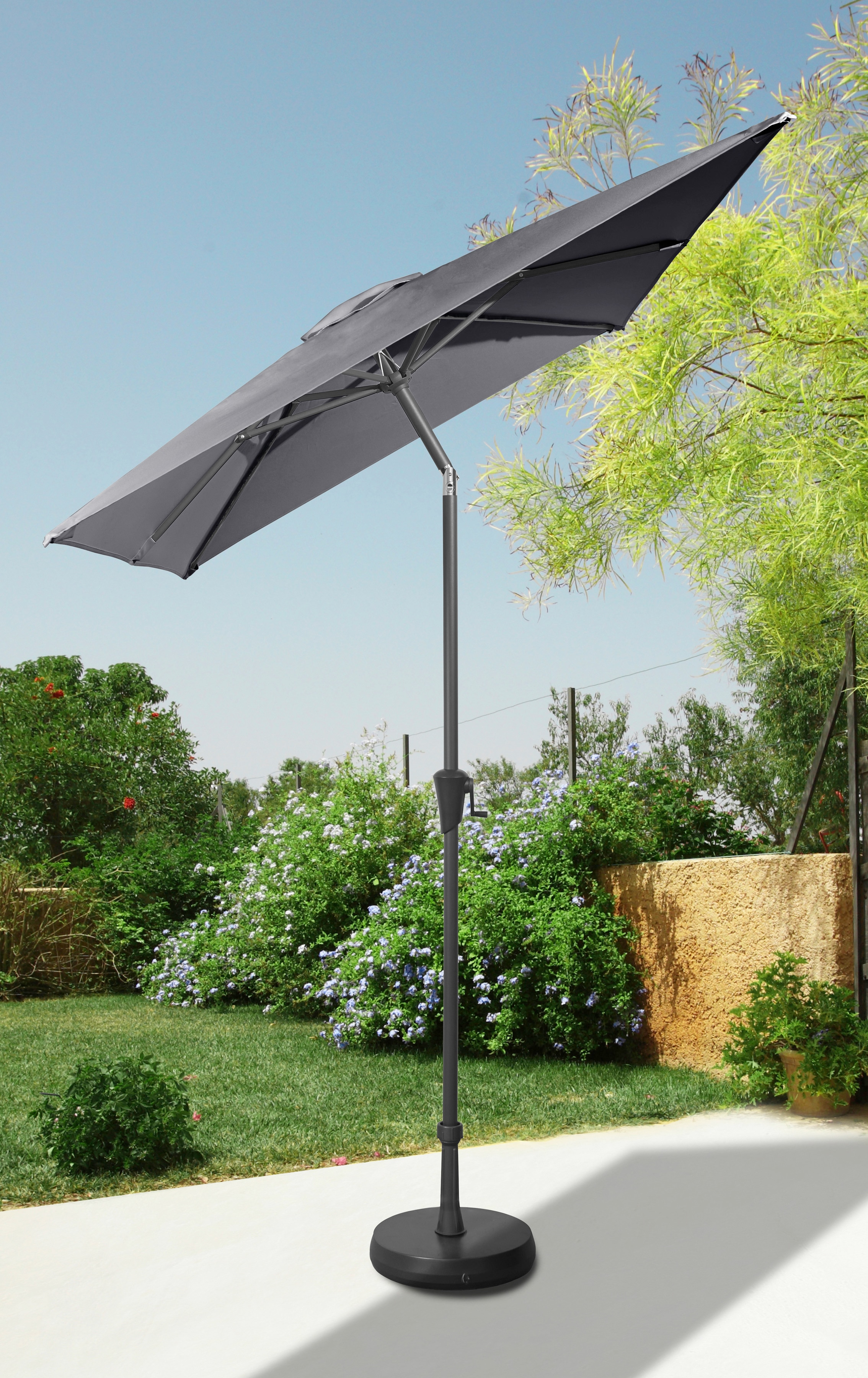 garten gut Sonnenschirm, abknickbar, ohne Schirmständer grau Sonnenschirme -segel Gartenmöbel Gartendeko Sonnenschirm