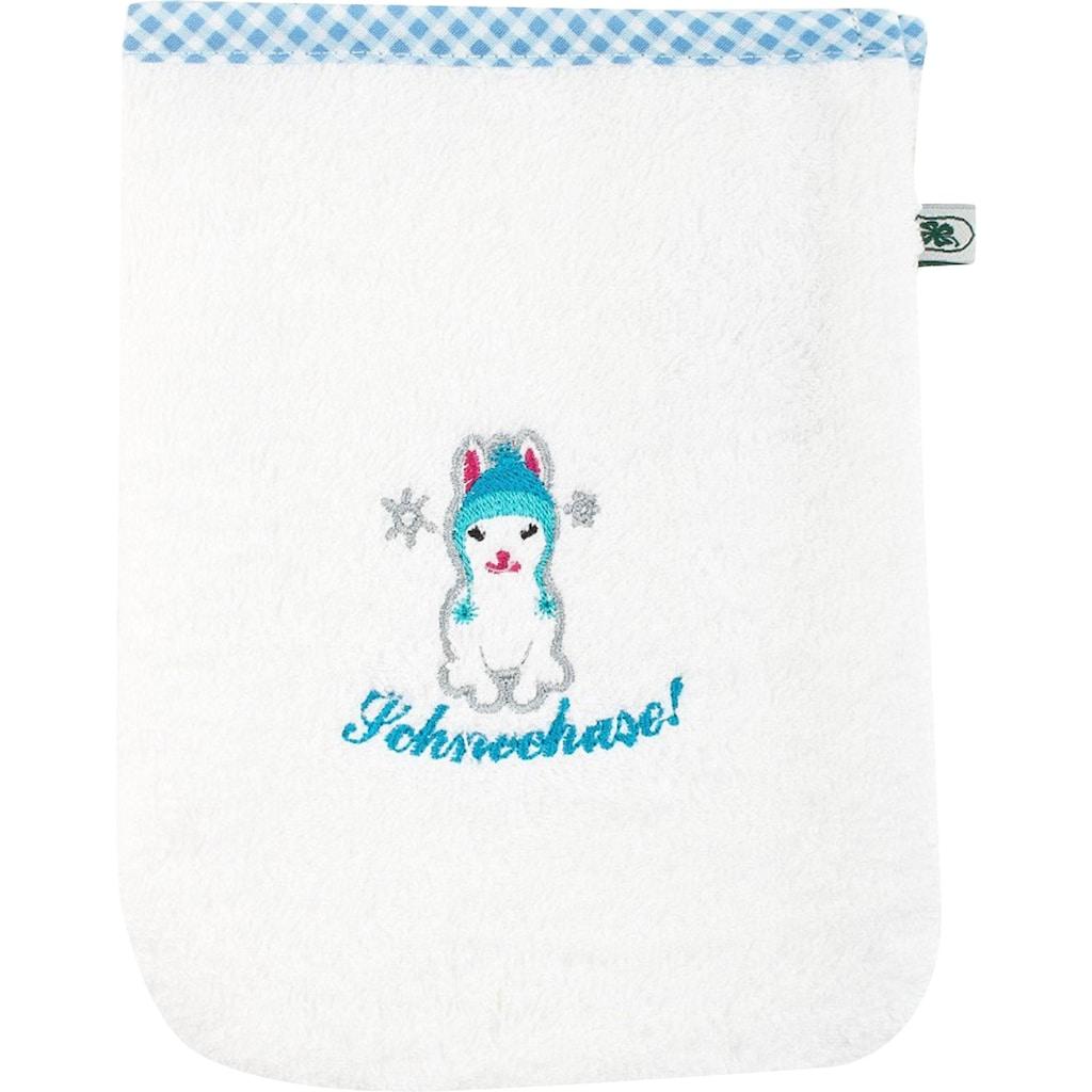 ADELHEID Waschlappen »Schneehase Waschlappen«, mit Paspel und Stickerei