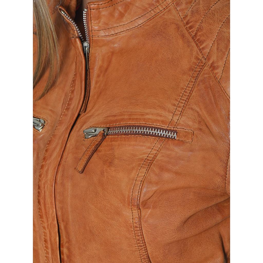 MUSTANG Lederjacke mit zwei Brusttaschen