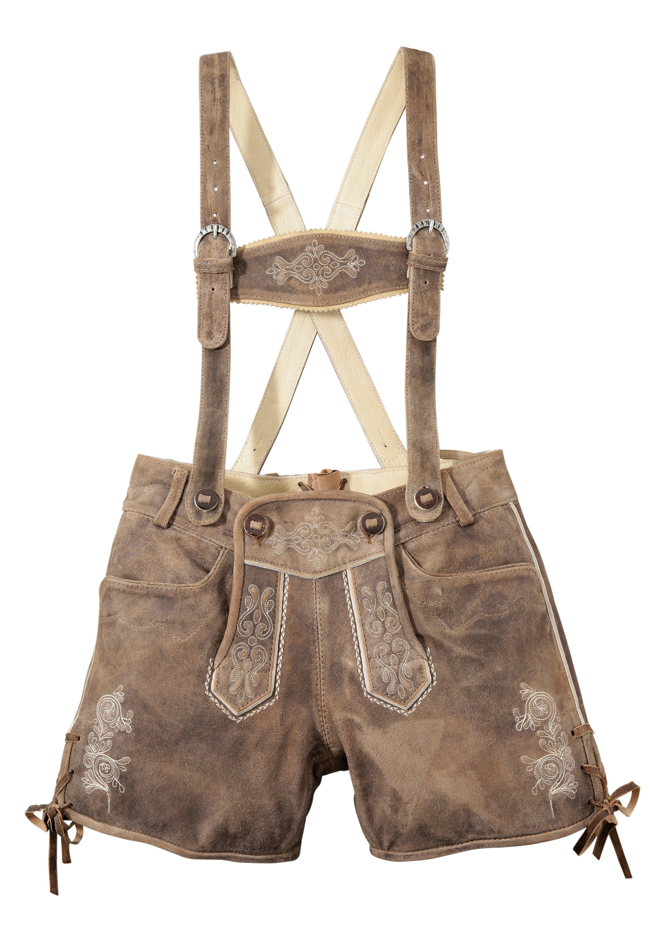 Almsach Trachtenlederhose kurz Damen mit Stickerei | Bekleidung > Hosen > Lederhosen & Kunstlederhosen | Braun | Almsach